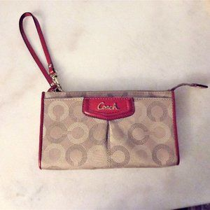 Coach wallet wristlet (khaki with cherry red trim)